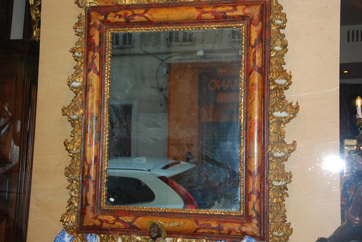 Antiquit s paul azzopardi miroir v nitien polychrome fin for Miroir french to english